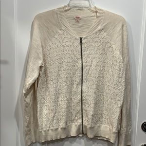 NWOT Knit Lace Front Bomber Jacket